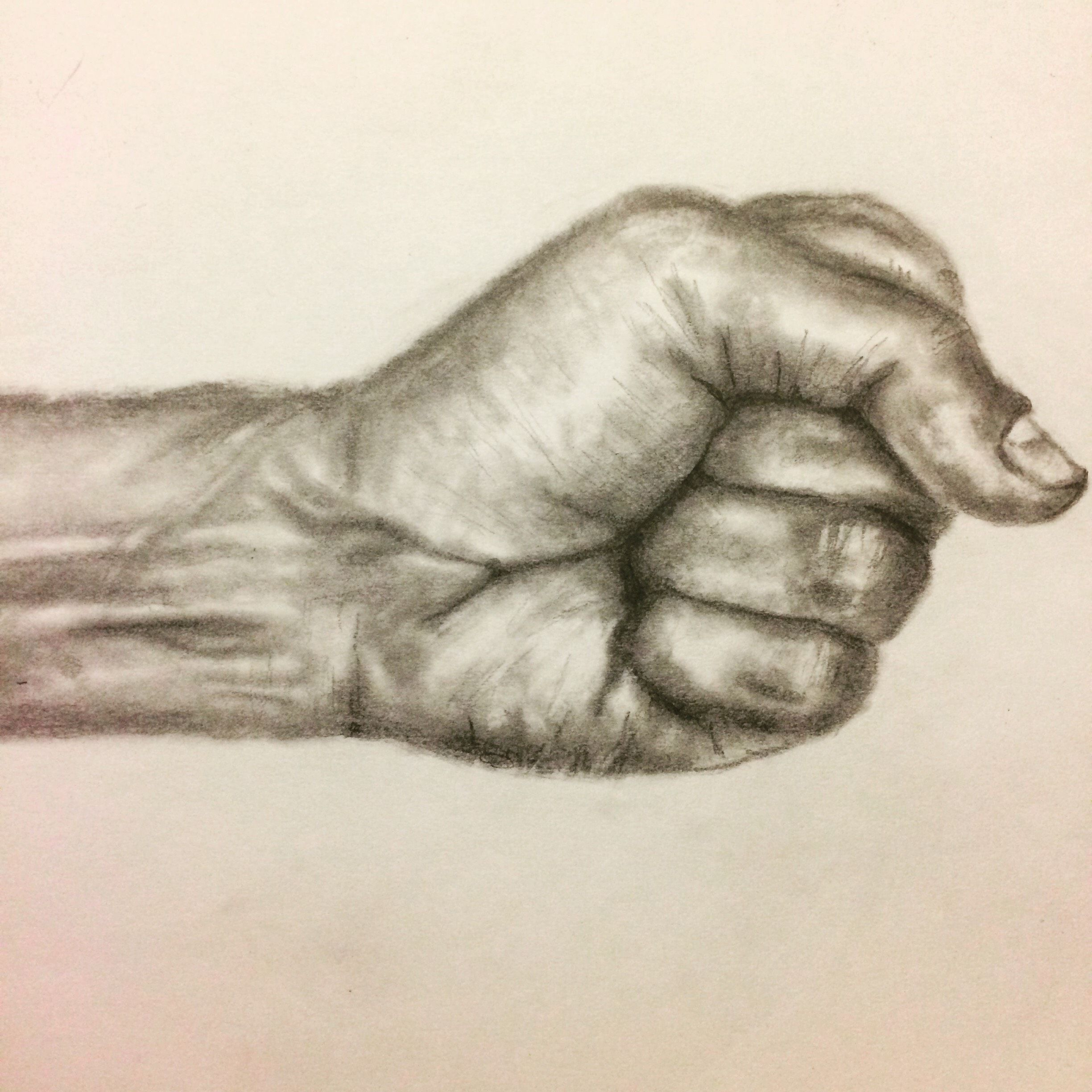 Pencil drawing of a fist studying hands