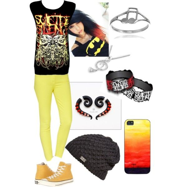 """""""Suicide silence"""" by run-away-baby on Polyvore #fauxgauge #fakersearrings #stretchers #earplugs #claygauge #red #jellow"""