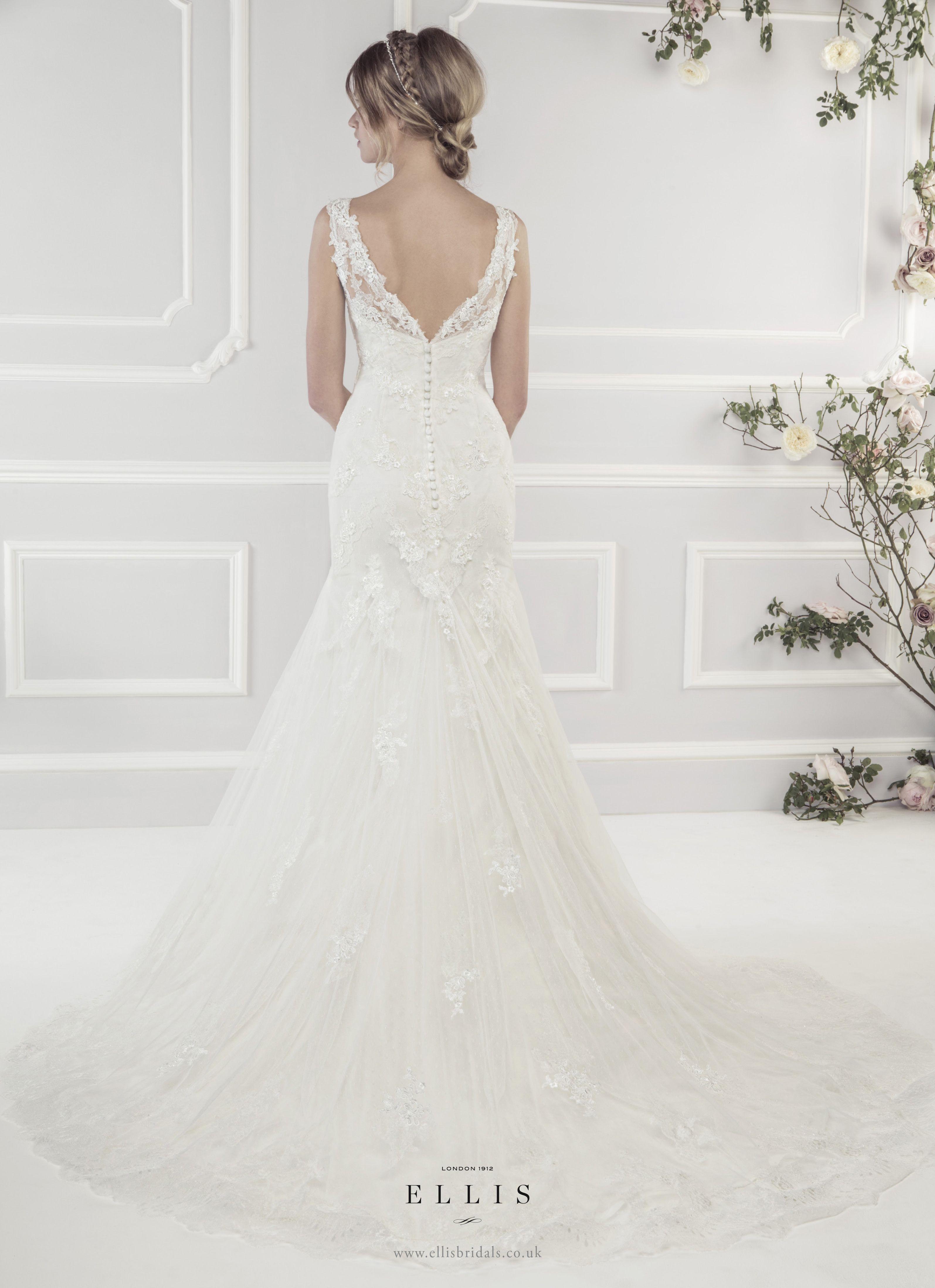 #Ellis2015 Style 11433 Back Shot 'Elegant Soft Tulle Fluted Dress with Appliqué Guipure Lace Motifs'