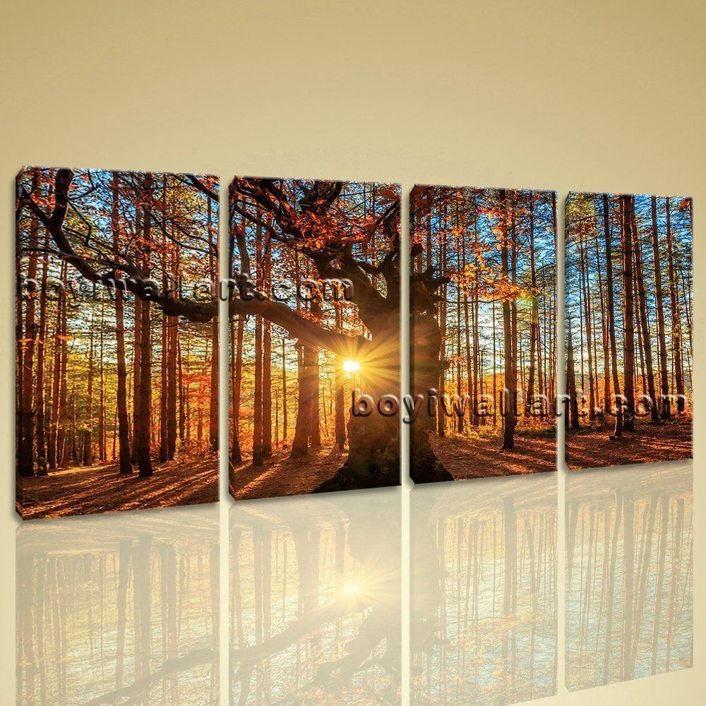 Large autumn forest sunrise landscape wall art giclee printed on