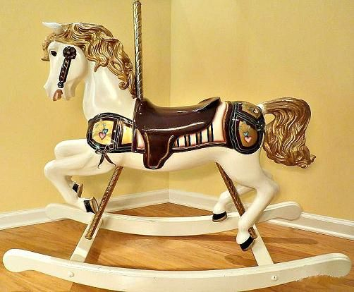 wooden rocking horses carousel horses wood carved animals this is amazingly beautiful el. Black Bedroom Furniture Sets. Home Design Ideas