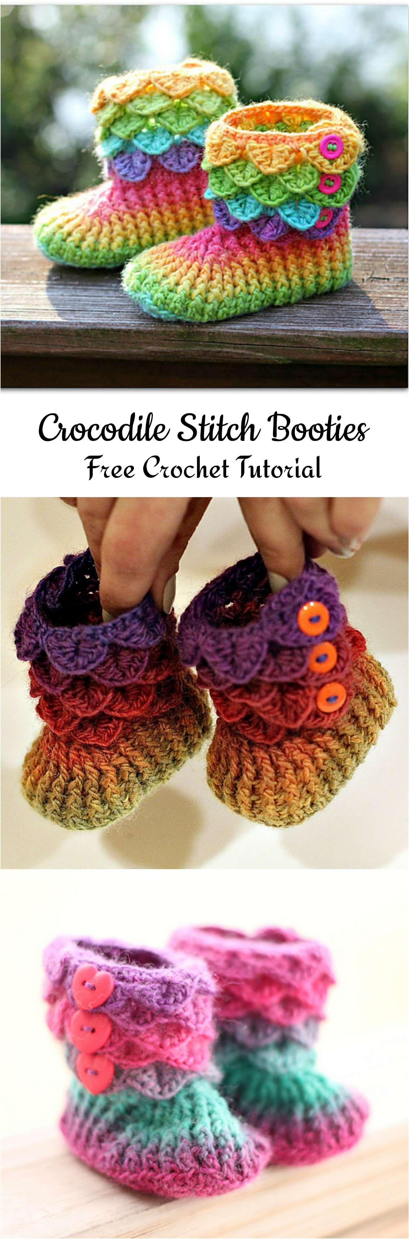 Crochet Crocodile Stitch Booties | Crochet & Knitting | Pinterest ...