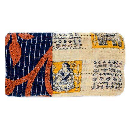 Kantha Hand Stitched Baby Blanket Navy Hieroglyphics Kantha Baby Blanket Kantha Navy Blanket