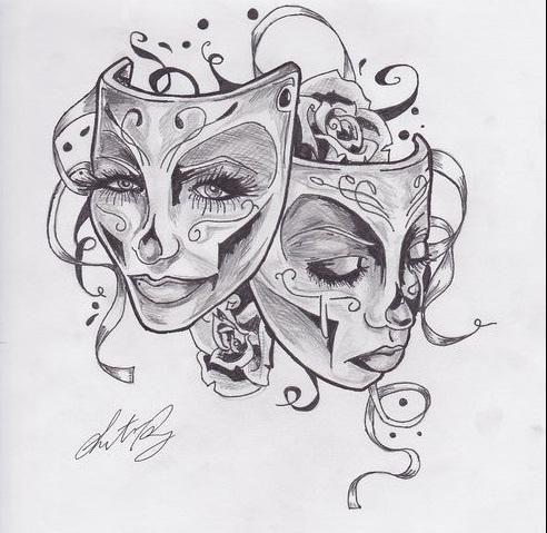 gemini happy and sad face tattoo google search tattoo ideas pinterest face tattoos. Black Bedroom Furniture Sets. Home Design Ideas