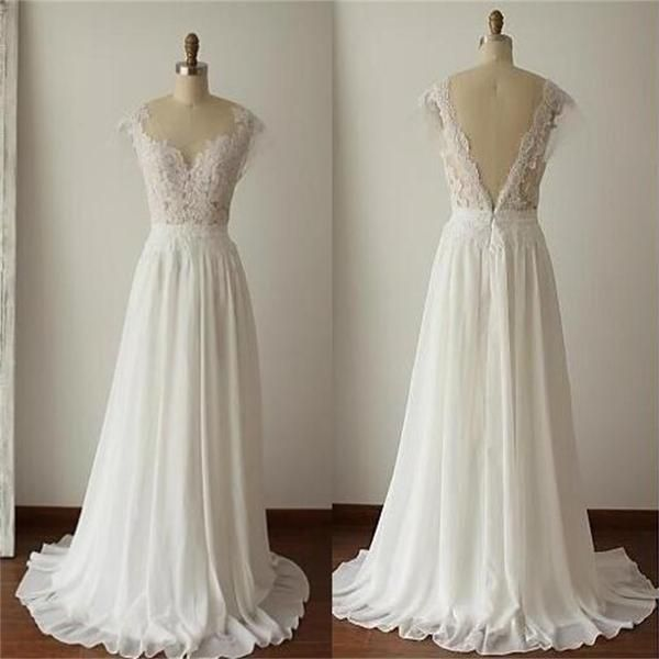 2019 Simple Long A-Line V-back Lace Wedding Dresses