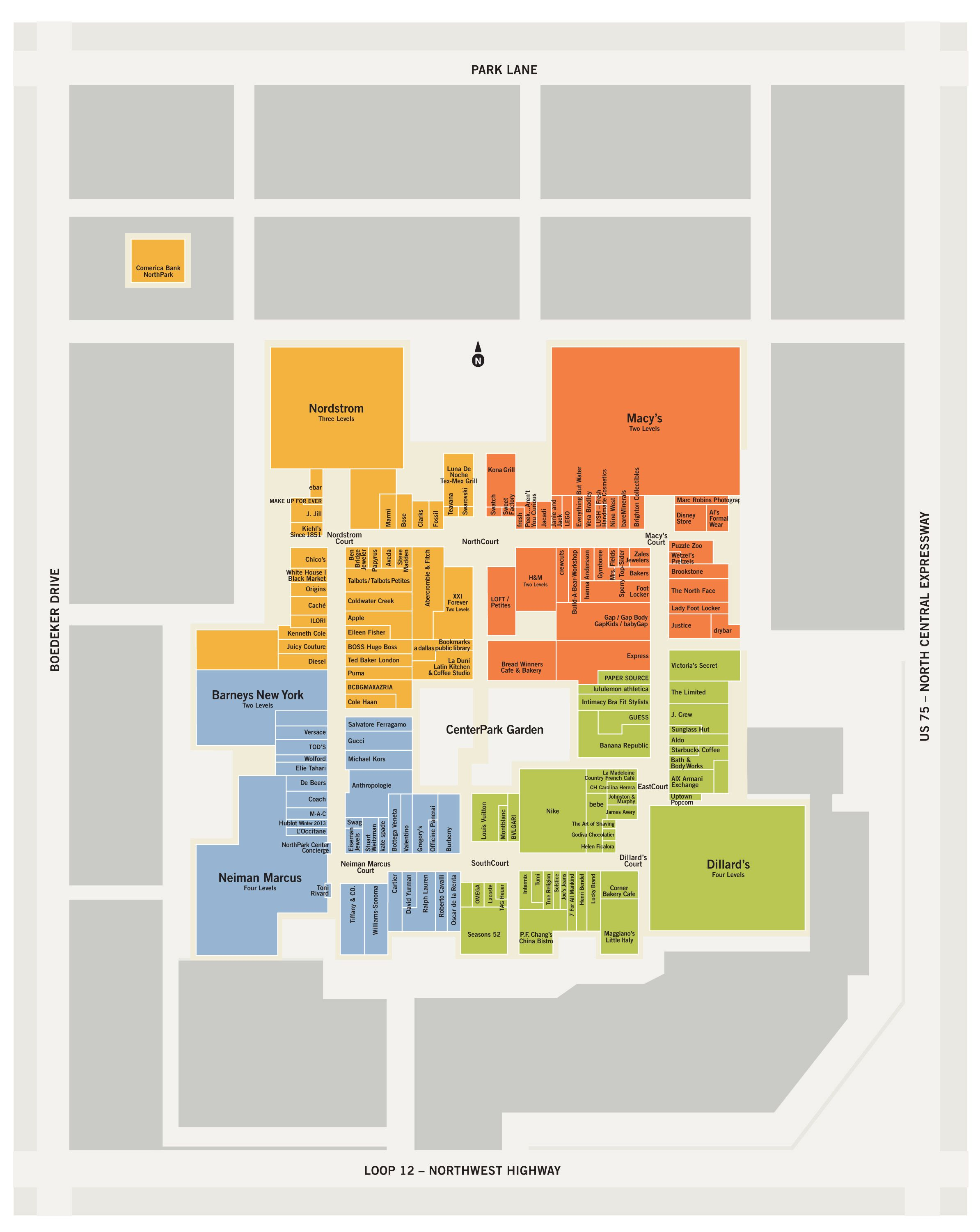 Clothing stores in northpark mall