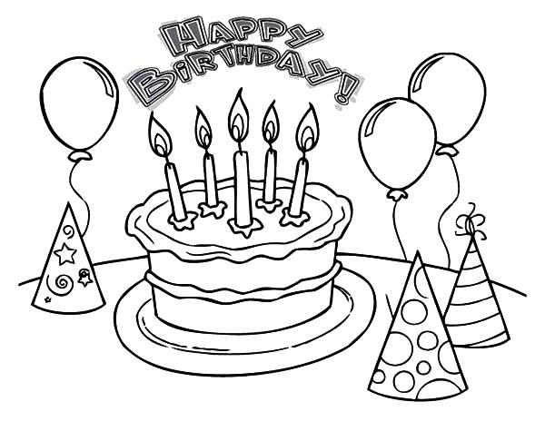 Balloons And Pointed Hat With Birthday Cake Coloring Pages : Best Place To  Color Birthday Coloring Pages, Coloring Pages, Free Coloring Pictures