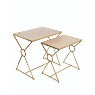 Privilege Gold/ Off White Marble Accent Tables (Set Of 2) (Gold/off White)