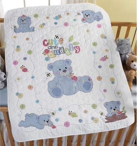 Cute and Cuddly Crib Cover - Stamped Cross Stitch Kit - Bucilla ... : stamped cross stitch baby quilts - Adamdwight.com