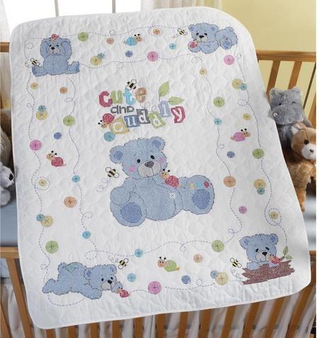 Cute and Cuddly Crib Cover - Stamped Cross Stitch Kit - Bucilla ... : bucilla cross stitch baby quilts - Adamdwight.com
