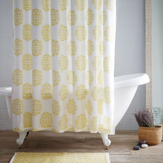 Scroll Medallion Shower Curtain - Citron | west elm | for my black ...