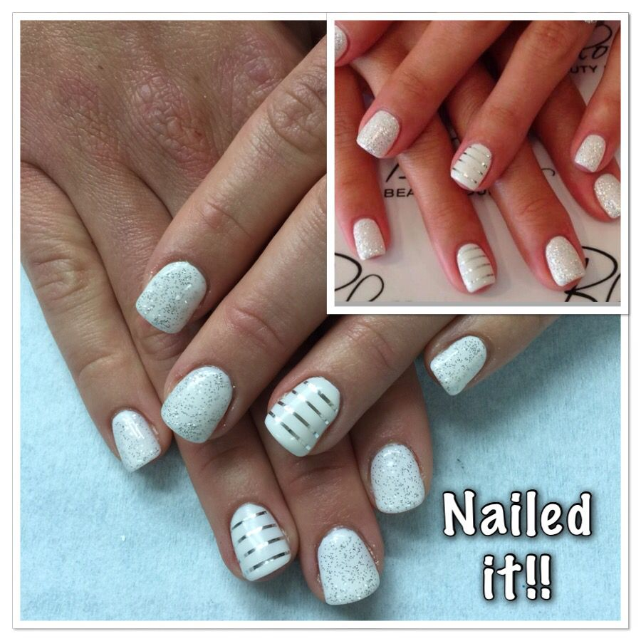 White with silver glitter gel nails and stripping tape on accent ...