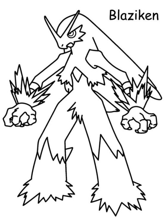 Blaziken Pokemon Black And White Coloring Pages 550x733 Picture