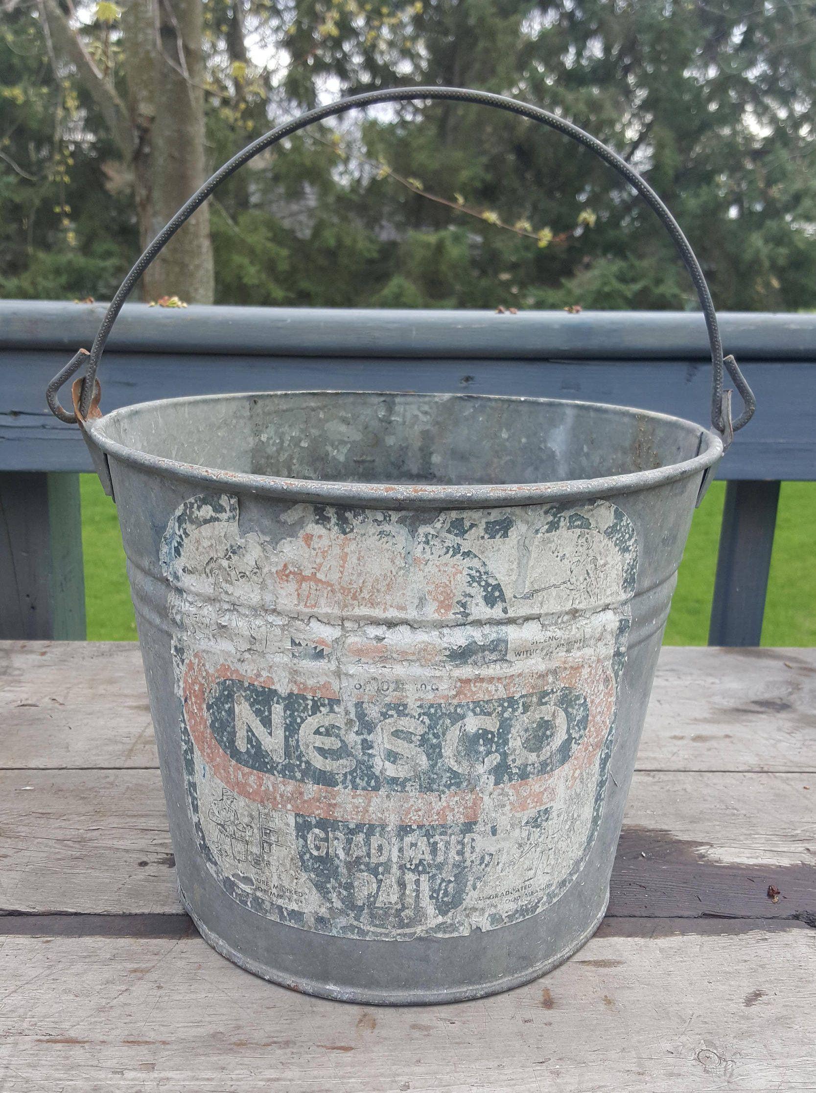 Beverage Holder Decor Wood Vintage Metal Industrial Farmhouse Chic Pail Planter