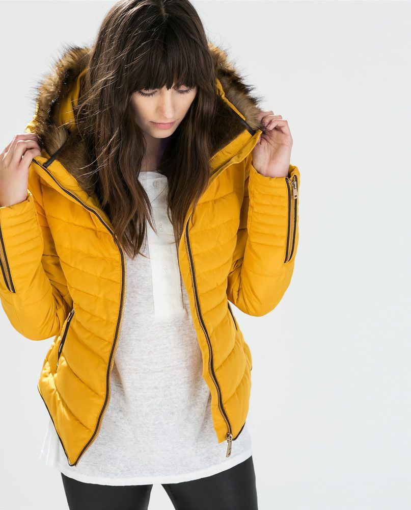 Zara Mustard Yellow Quilted Padded Winter Jacket With Fur