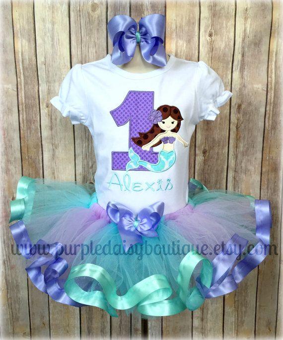 Mermaid Under The Sea Theme Lavender And Aqua Ribbon Trim