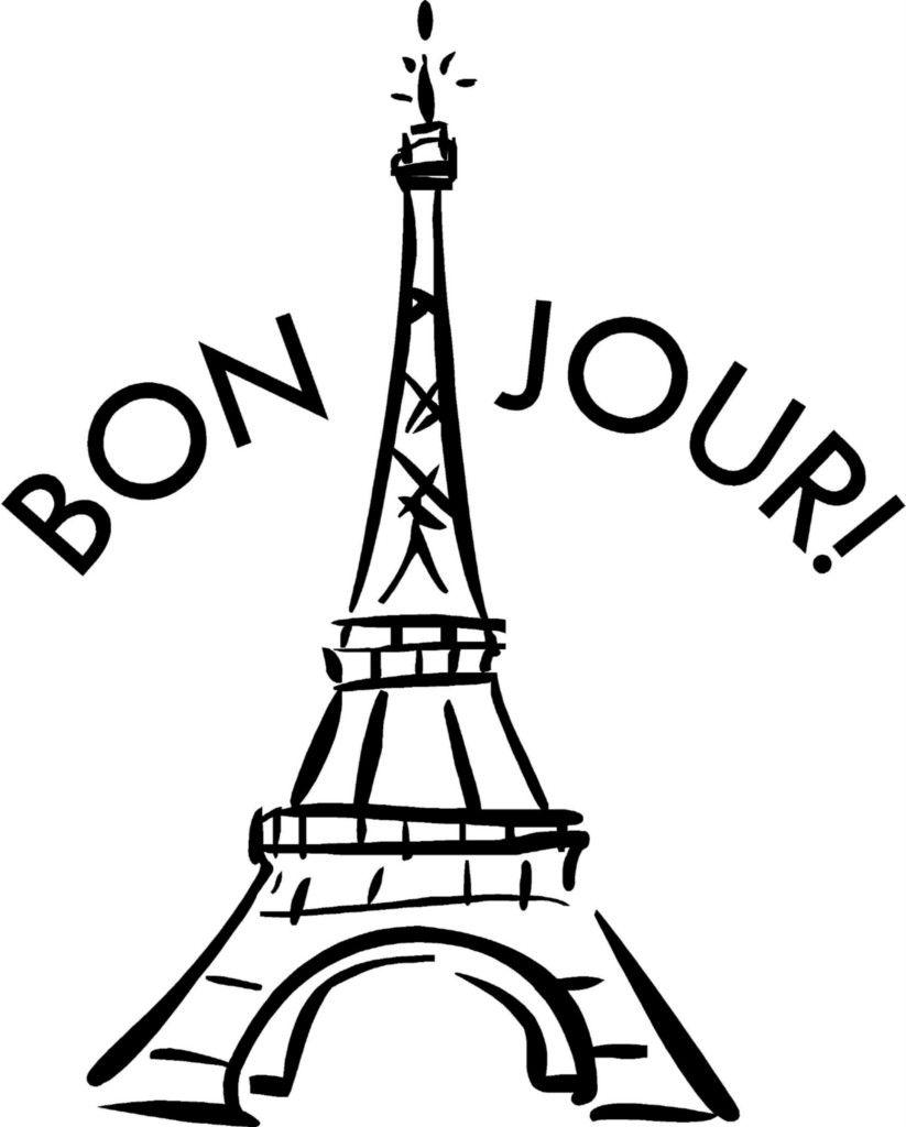 eiffel tower bon jour french vinyl decal sticker wall lettering teen room decor