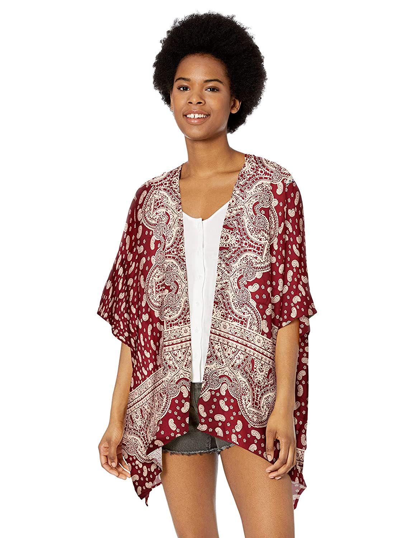Angie Womens Printed Kimono Cardigan
