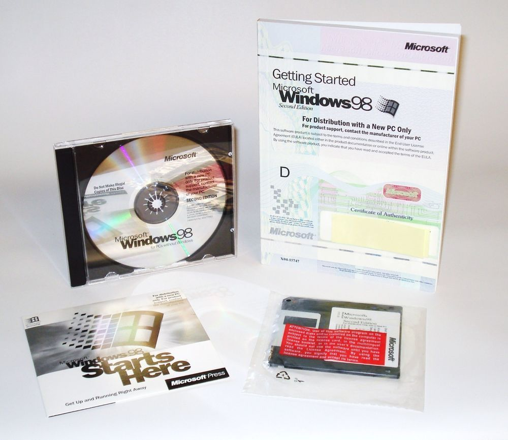 Microsoft Windows 98 Second Edition, Book/Manual, CDs, Boot