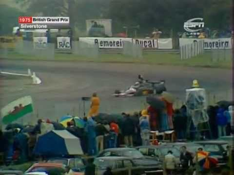 Tom crashes out of the 1975 British Grand Prix after being in the lead