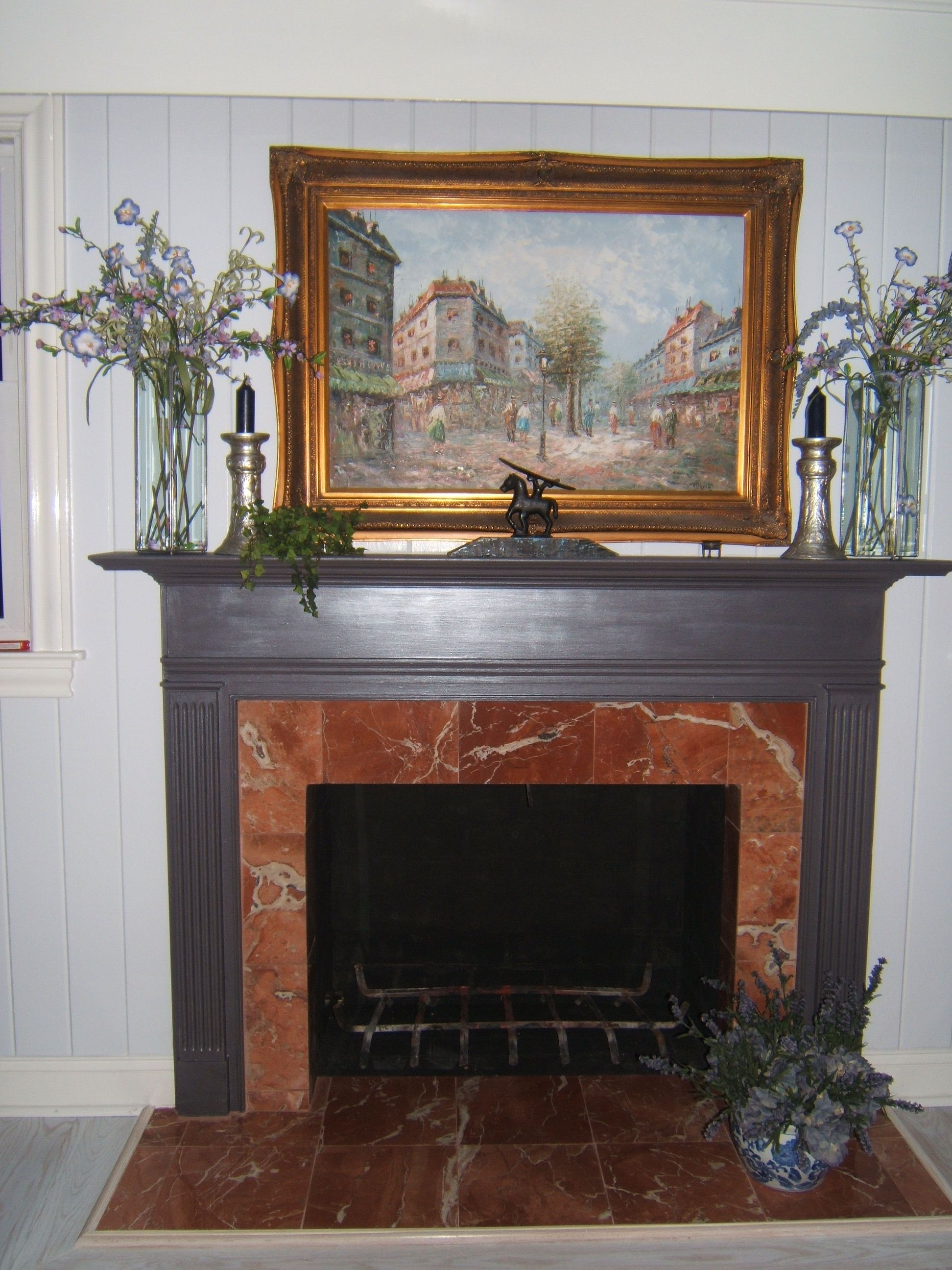 Office fireplace russian rojo marble hearth sw grey with glaze on