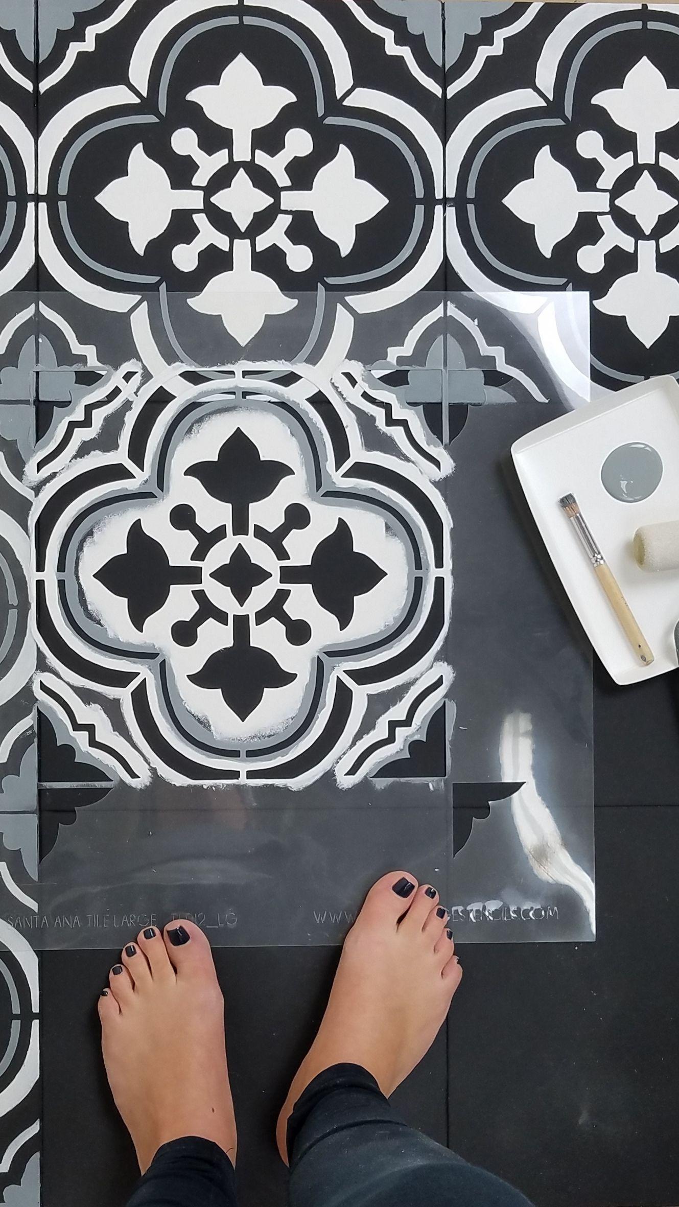 Paint stencil a faux tile floor santa ana tile stencil cutting paint stencil a faux tile floor santa ana tile stencil cutting edge stencils dailygadgetfo Gallery