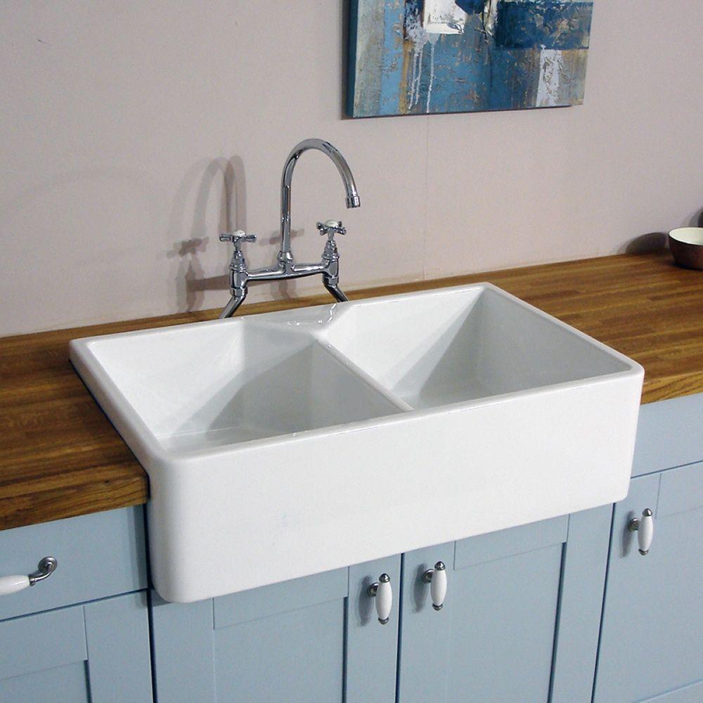 Astini belfast 800 20 bowl white ceramic kitchen sink waste astini belfast 800 20 bowl white ceramic kitchen sink waste astini from taps uk workwithnaturefo