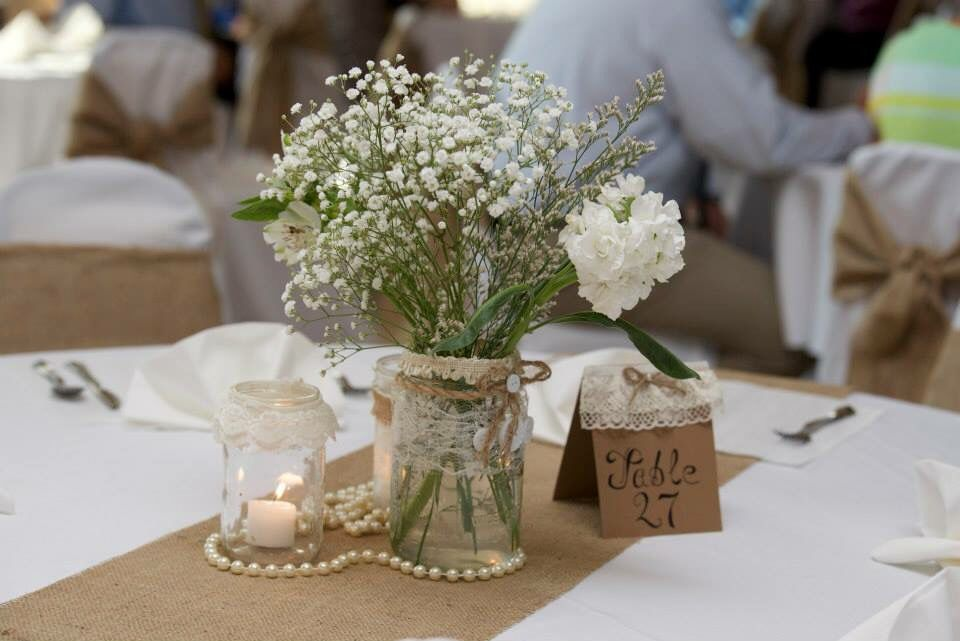 Burlap Lace And Pearl Wedding Table Centerpiece Baby S Breath
