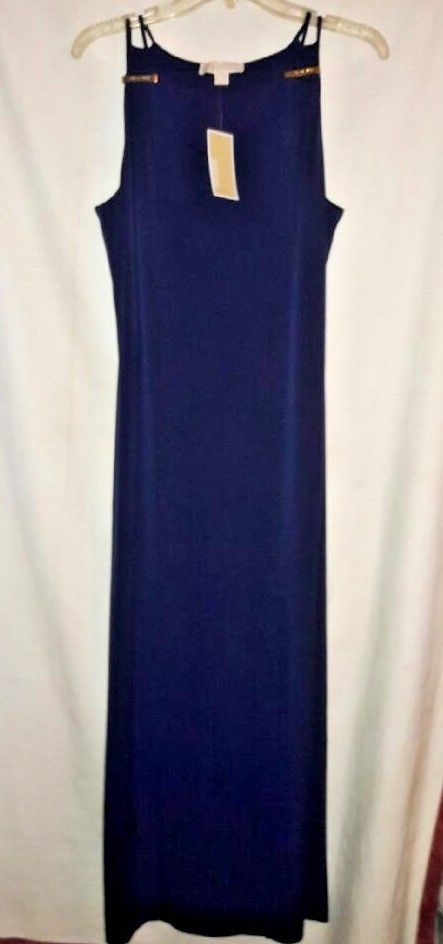 NWT Michael MICHAEL KORS Tank Maxi Dress Sz M Gold Bars Real NAVY Blue  #MichaelMichaelKors #Tank #Dress #Maxi #MaxiDress #MichaelKors