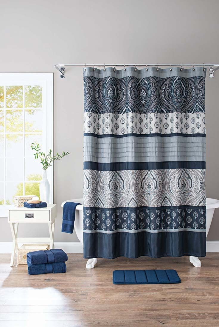 Better Homes And Gardens Indigo Paisley Pieced Fabric Shower Curtain
