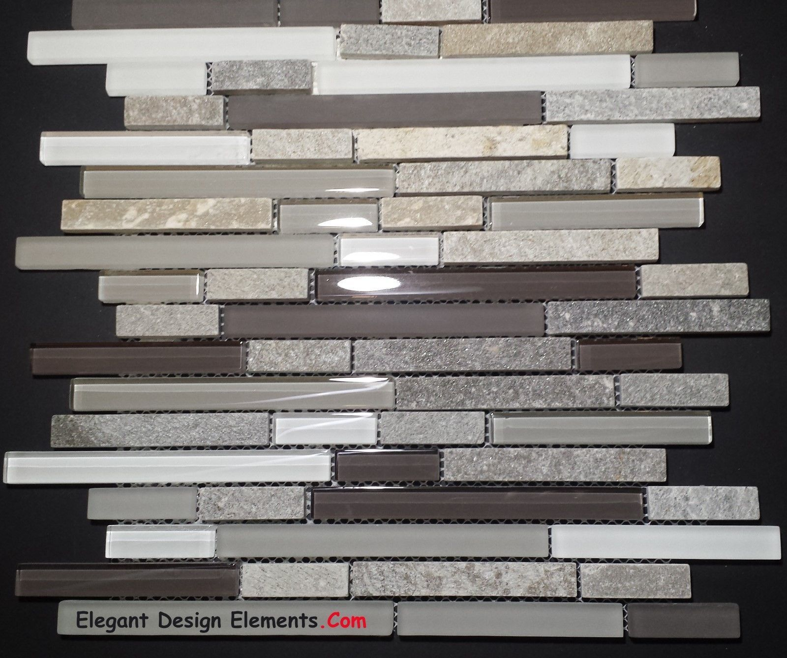 Gray Quartz Stone Mosaic with Light Gray Glass Tile Kitchen Backsplash Z35