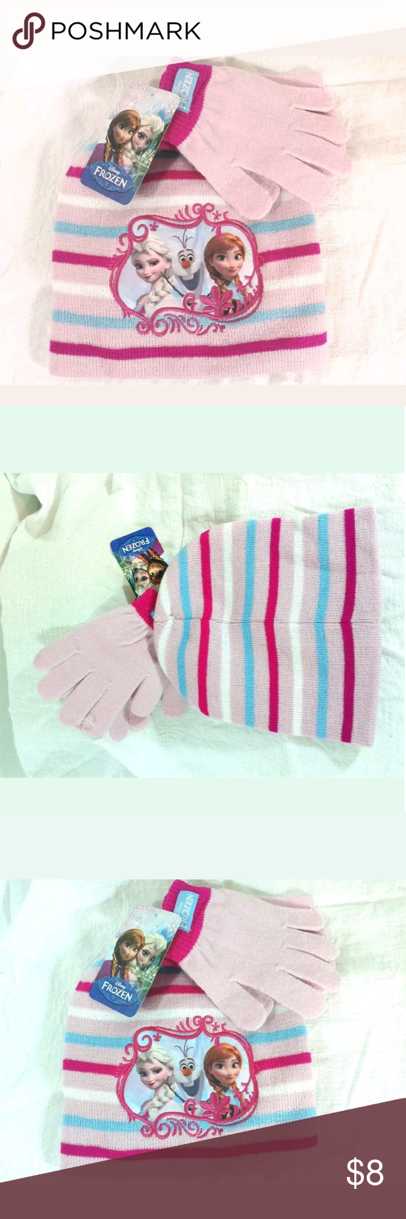 Disney Frozen - Pink Beanie Glove set Small Child Beloved Disney's Frozen - Pink Beanie and Glove set with Elsa Anna and Olaf - NWT - One Size Fits Most - Small Kids Size   100% Acrylic - See Care Tag Photo for Washing Instructions. Adorable!  If you have any questions or concerns about your item(s) upon receipt, please contact me so that I may address them - Your satisfaction is my HIGHEST priority! Disney Accessories Hats