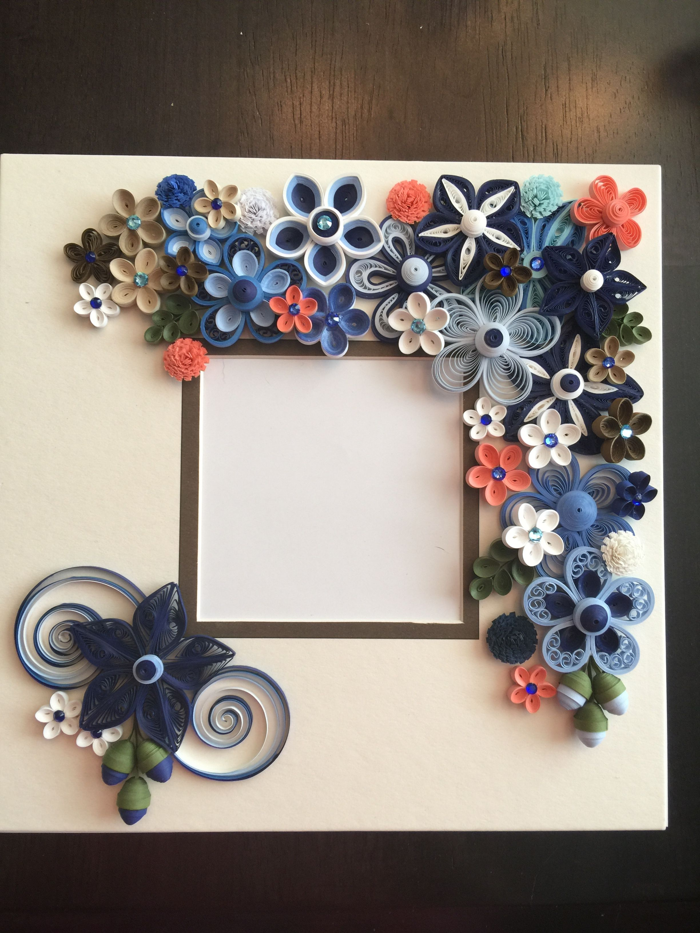 Quilled blue flowers frame by Ginny Huff | Quilling | Pinterest ...