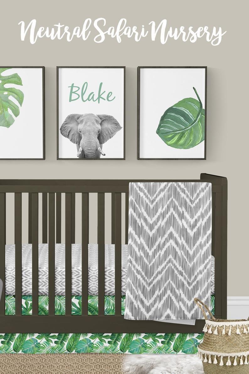 Boy Crib Bedding Boy Nursery Modern Neutral Jungle Palm Leaf
