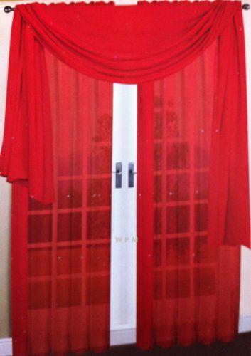 3 Piece Red Sheer Voile Curtain Panel Set 2 Red Panels And 1