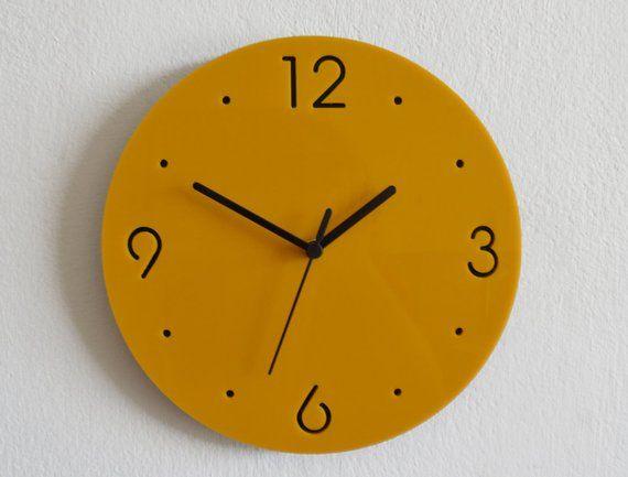 Simply Yellow and Black Circle Modern Wall Clock