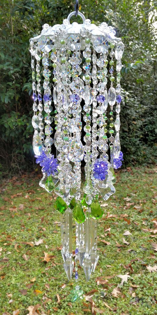 Antique Crystal Wind Chime, Violet and Green Crystal Wind Chime ...