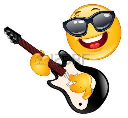 Rock Emoticon Playing The Guitar Smiley Emoticon Funny Emoji