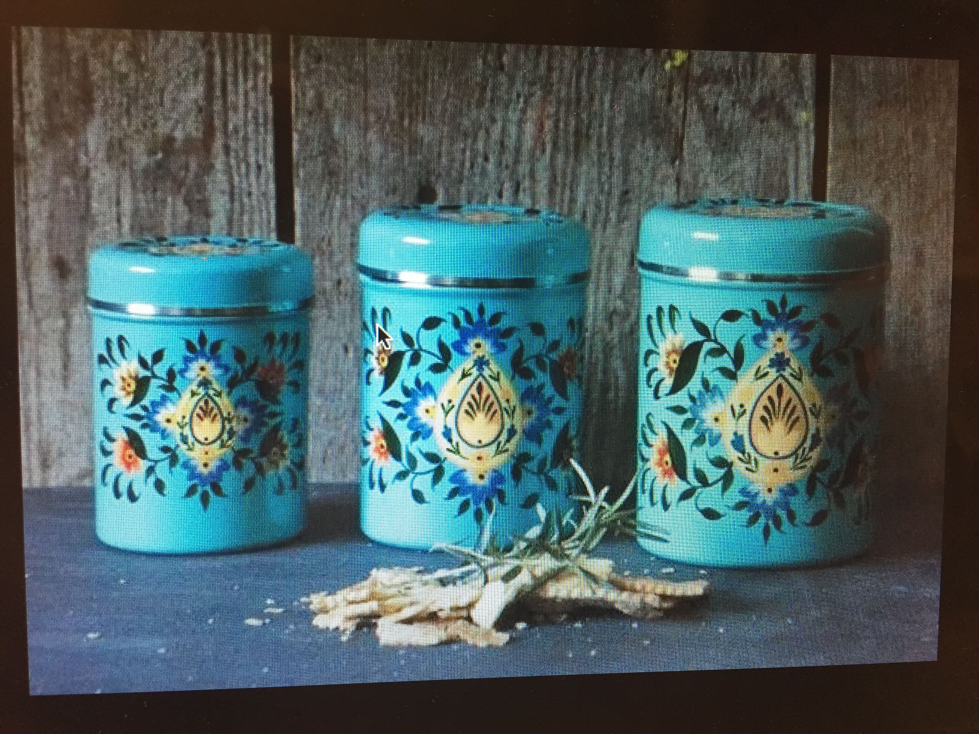 I love this style of metal canisters. Reminds me of Mexico, but I ...