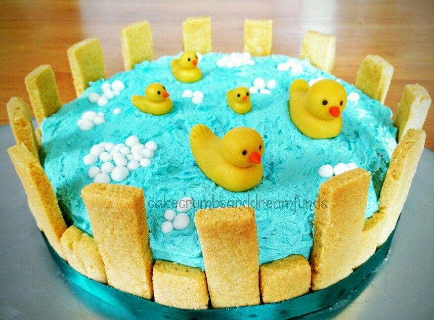 Ducks in a tub 1st birthday cake #ducks #5littleducks #cake #vegan #eggfree #crueltyfreecake #cakecrumbsanddreamfunds