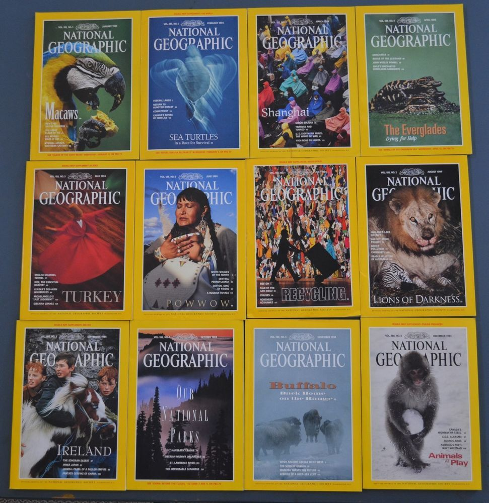 National Geographic Magazine 1994 Complete Year with Wall Maps and ...