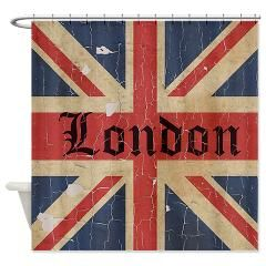Vintage London Flag Shower Curtain