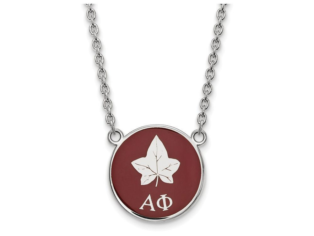 LogoArt Sterling Silver Alpha Phi Small Enameled Pendant Necklace - Chain Included With 18 Inch Chain