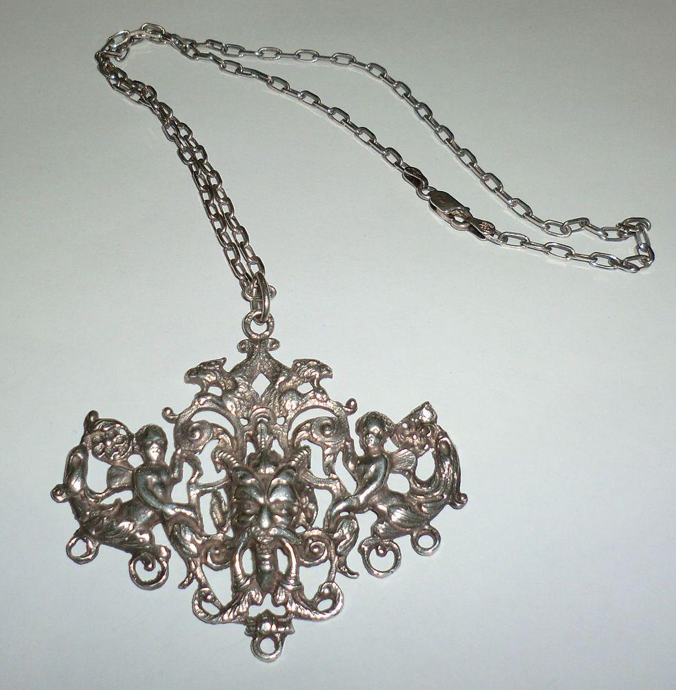 Vintage Antique Silver Griffin Gryphon Dragon Bacchus Devil Putti Pendant Cini? #Unbranded #Pendant