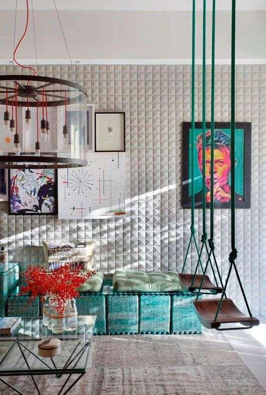 Come arredare casa in stile Rio - Soggiorno eclettico colorato ...