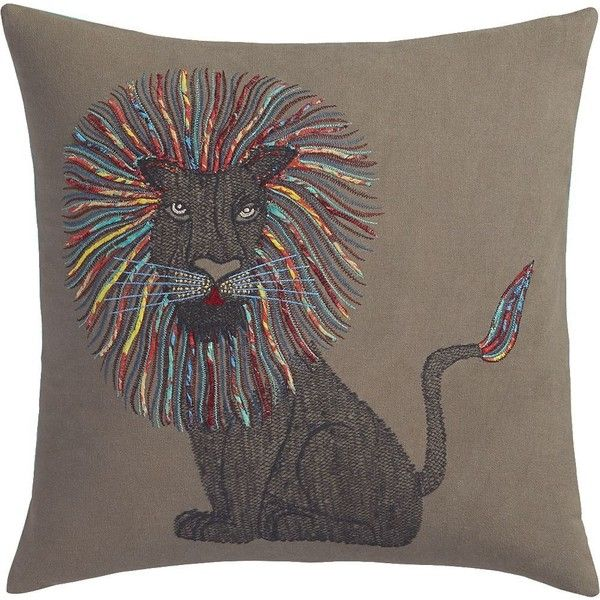 CB40 Embroidered Lion 40 Pillow FeatherDown Insert 40 Liked Gorgeous Cb2 Decorative Pillows