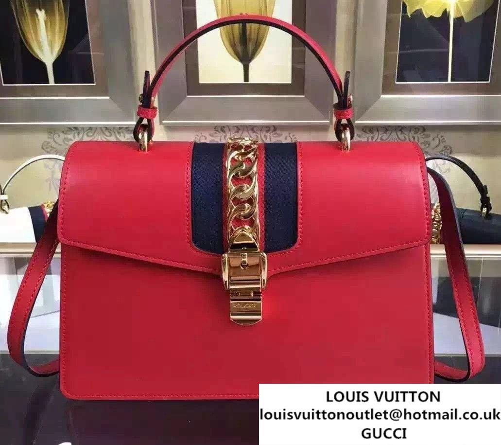 9ff8d90102c Gucci Sylvie Leather Top Handle Medium Bag 431665 Red 2016
