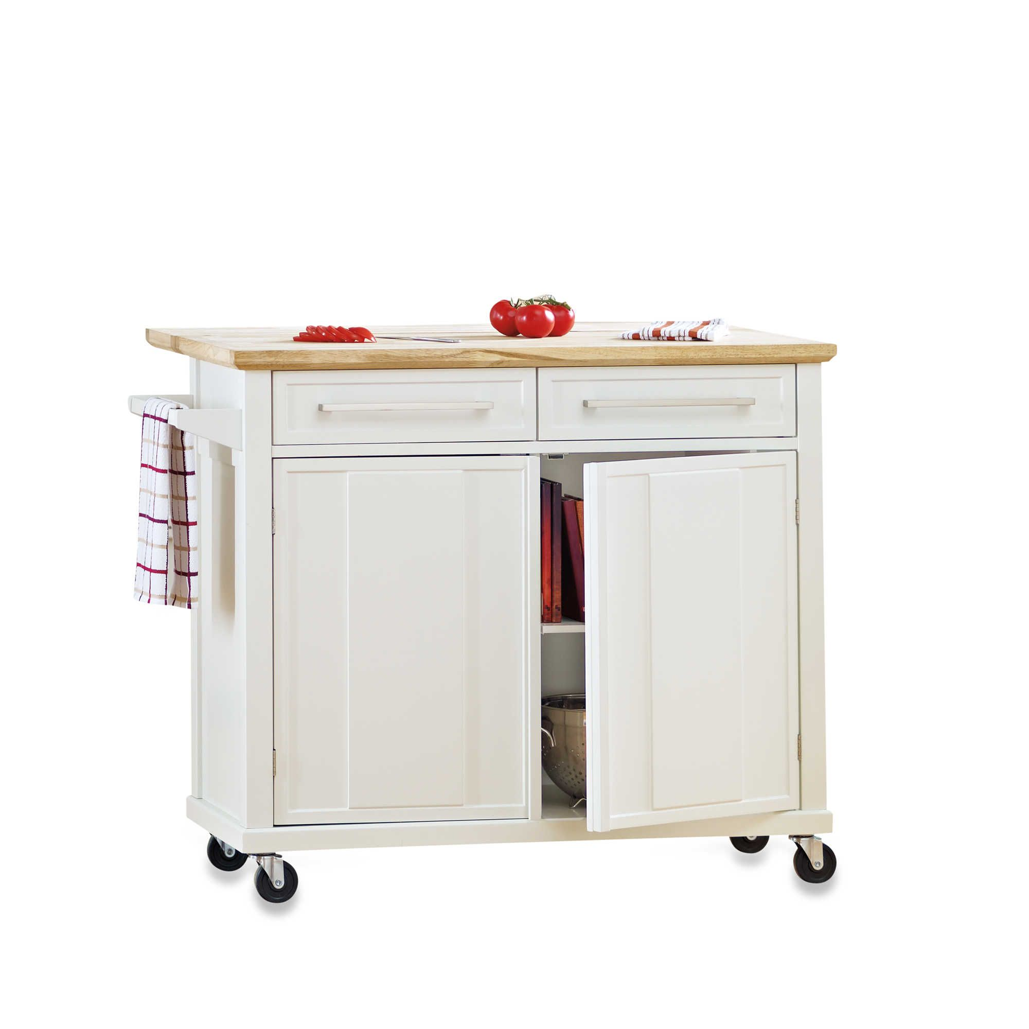 Real Simple Rolling Kitchen Island in White