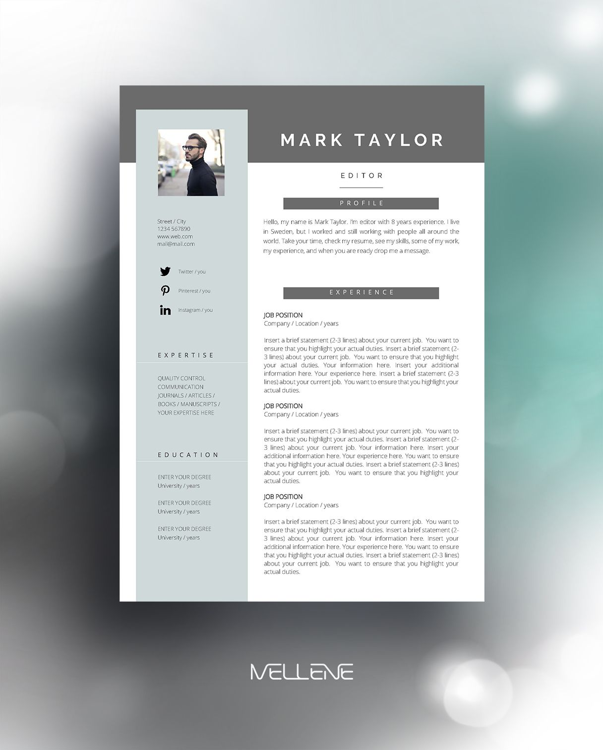 CV Resume Template For MS Word 2 Pages Cover Letter Free Icons Usage Manual Absolutely Adjustable Layout Change Colors Fonts Insert Your