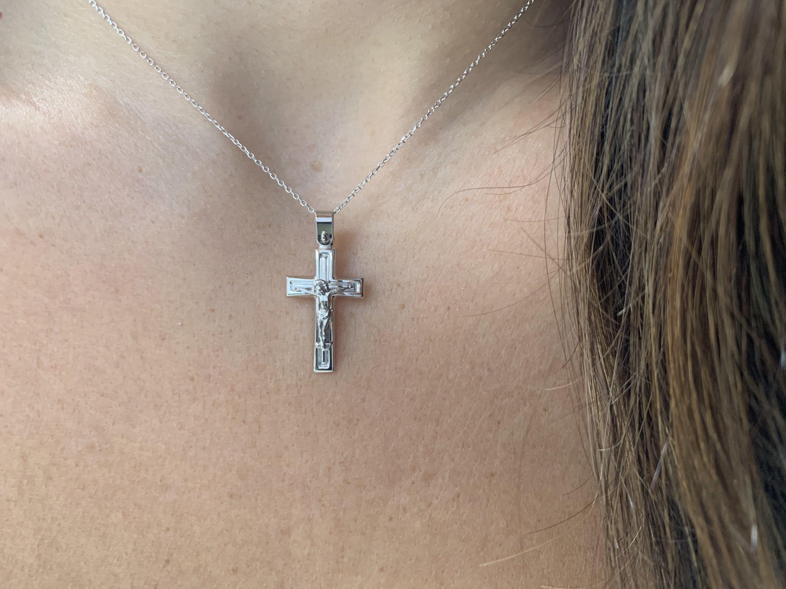 Crucifix Cross Necklace  14k White Gold Cross Necklace  Unisex Gold Cross Boys Girls Cross Communion Cross Confirmation Cross Baptism
